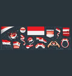Set national flag indonesia vector