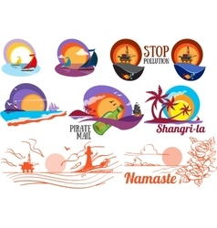 Set of colorful paintings of marine subjects vector
