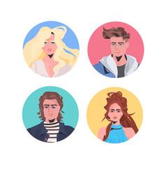 set people profile avatars beautiful man woman vector image