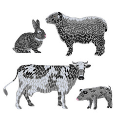set stylized farm animals collection vector image