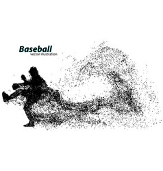 silhouette a baseball player from particle vector image