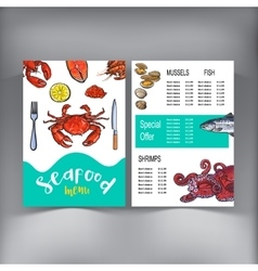 Sketch style seafood restaurant cafe menu design vector