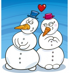 snowman in love vector image
