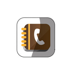 Sticker color realistic phone book with spiral vector