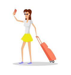 Summer vacation red head girl travels with luggage vector