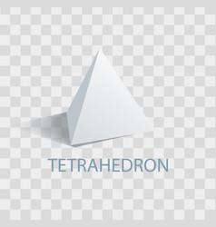 Tetrahedron geometric figure with sharp angles vector