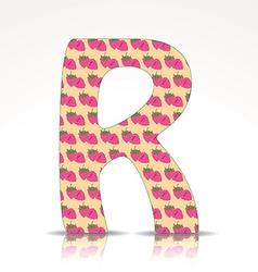 the letter r alphabet made raspberries vector image