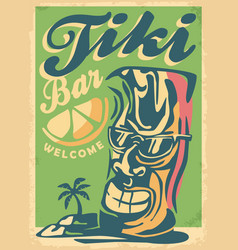 tiki mask mascot with sunglasses vector image