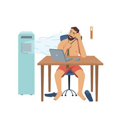 Undressed man working in heat office with fan vector
