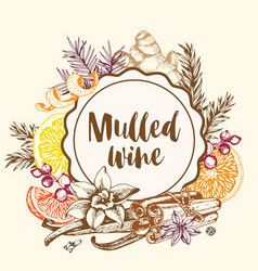 Vintage background with spices for mulled wine vector