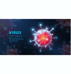 Virus abstract 3d viral microbe on blue vector