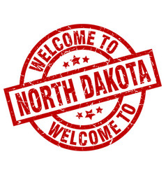 welcome to north dakota red stamp vector image