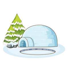 Winter scene with igloo vector