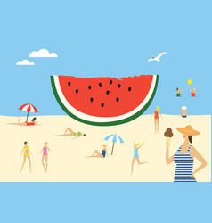 women on beach and big piece watermelon v vector image