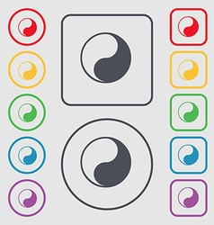 Yin Yang icon sign symbol on the Round and square vector image
