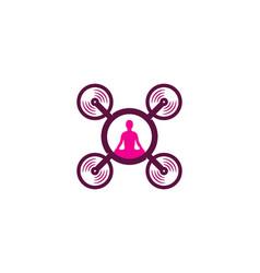 Yoga drone logo icon design vector