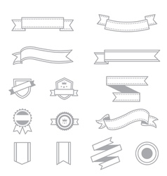 Banner and Ribbon Icons Line Set Of Design copy vector image