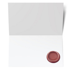 Blank white paper with red wax seal vector