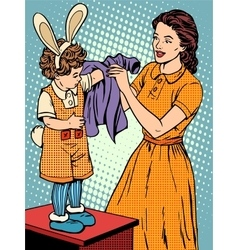 Carnival mother of the child dresses up in a Bunny vector image vector image
