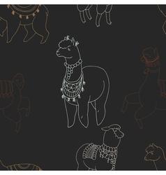 Fun alpaka and lama in festive decorations vector image