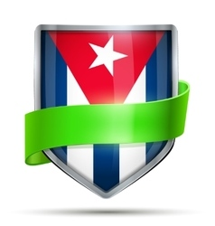 Shield with flag Cuba and ribbon vector image vector image