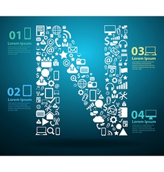 Application icons alphabet letters N design vector image vector image