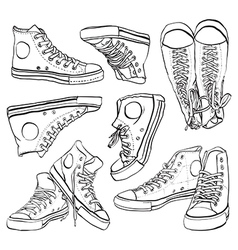 Black and white sneakers set vector image
