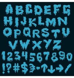 Blue font smudges alphabet splashing vector image