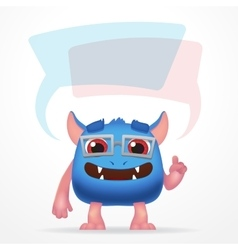 Comic Blue education monster Cute character with vector image vector image