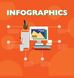 Flat designer workplace infographic concept vector