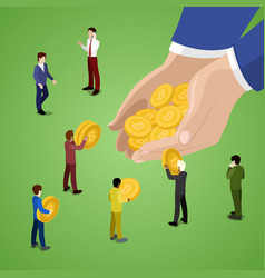 isometric business people with bitcoins vector image