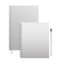 spiral notepad diary and pencil template branding vector image vector image