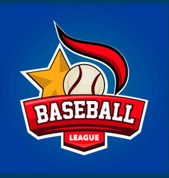 baseball league logo design with leather ball and vector image vector image