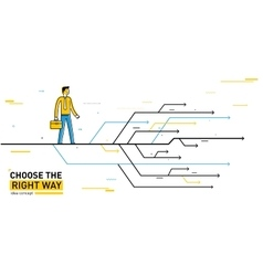 Businessman chooses the right path vector image vector image