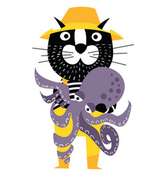 cool cartoon cat like fisherman holding octopus vector image