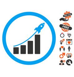 rocket startup bar chart icon with love bonus vector image