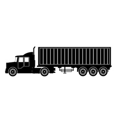 silhouette truck trailer container delivery vector image vector image