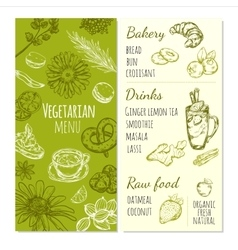 Vegetarian Menu Sketch Template vector image vector image