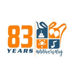 83 years gift box ribbon annivers vector