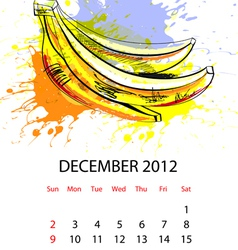 calendar with fruit for 2012 december vector image