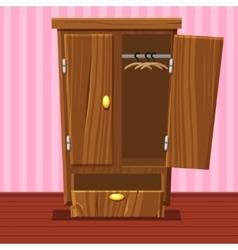 cartoon empty open wardrobe Living room wooden vector image vector image