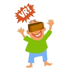 Comic cartoon style boy with Virtual reality glass vector image vector image