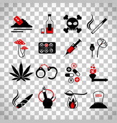 drugs and alcohol addiction icons vector image vector image