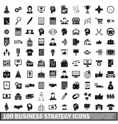100 business strategy icons set simple style vector image