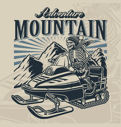 a skeleton on snowmobile with mountains vector image