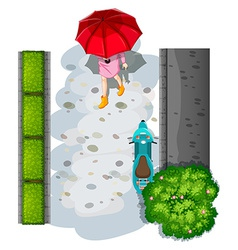 A topview of a woman with an umbrella vector