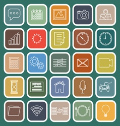 Application line flat icons on green background vector