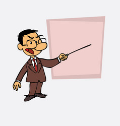 Asian businessman points out angry with a pointer vector