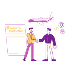Aviation accident insurance concept agent shake vector