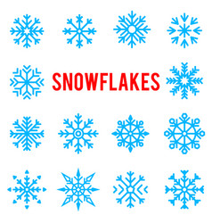 beautiful patterned blue winter snowflakes vector image